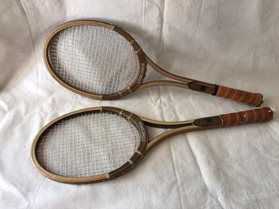 Vintage Pair Of Concorde Wood Tennis Racquets Rackets Bar Sports Decorations Tennis Racquets Tennis Art