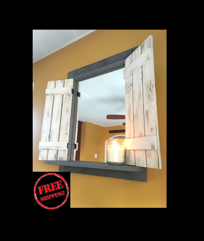 Large Mirror Wood Mirror Distressed Wood Mirror Shelf