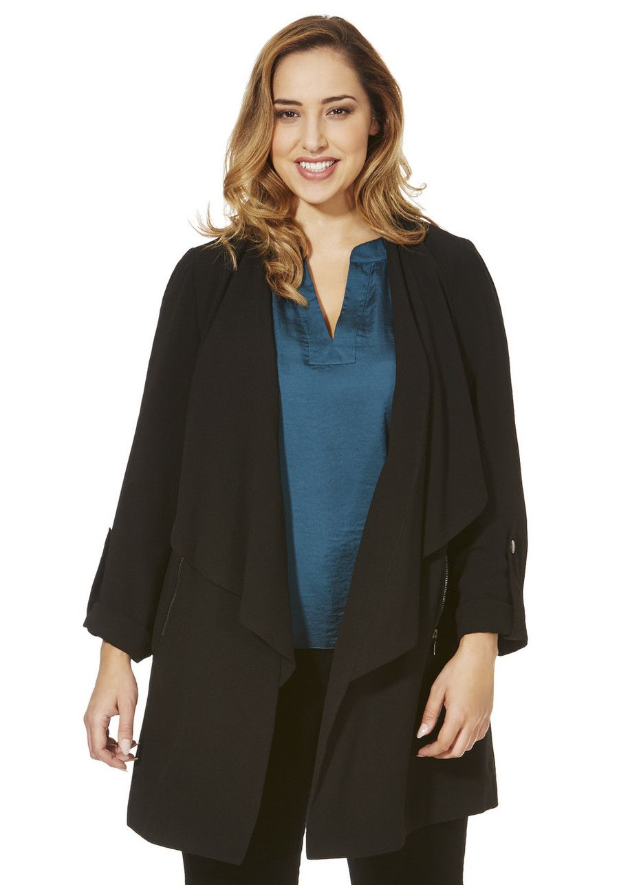 Clothing at Tesco | F&F True Crepe Waterfall Plus Size Jacket ...