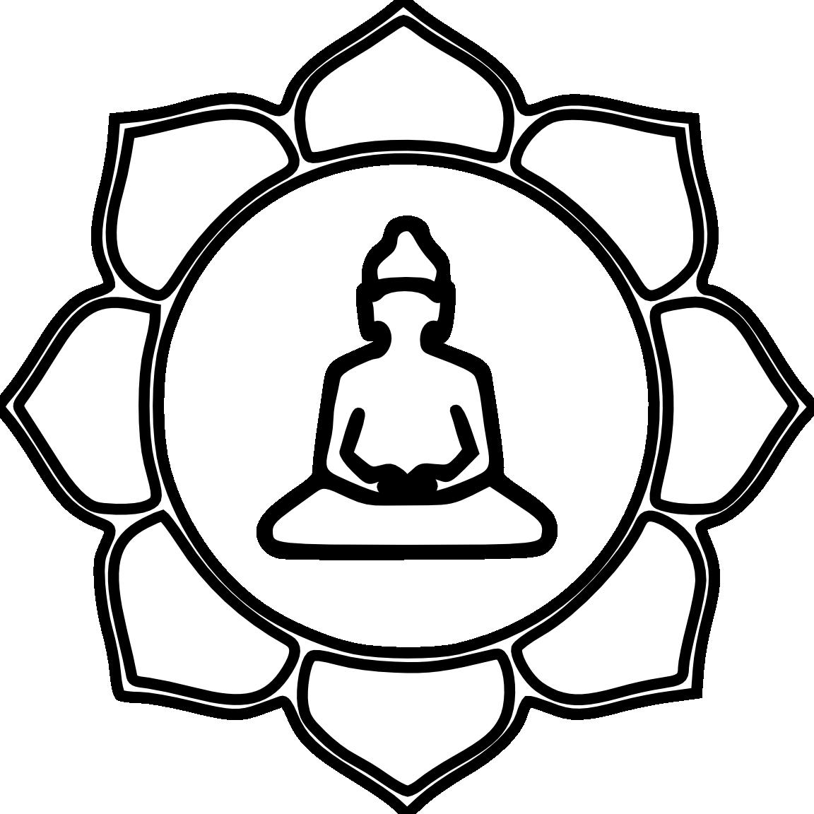 Buddha Flower Color Black White Line Art Coloring Book