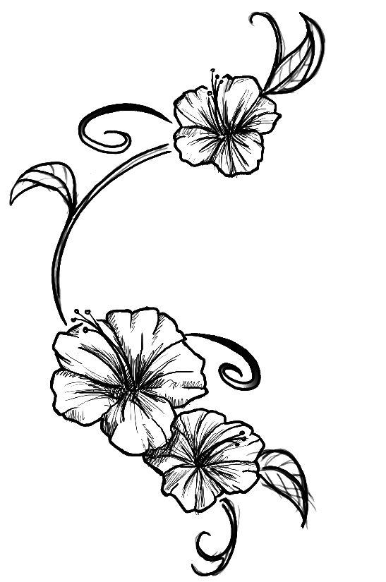 Flowers Tattoo By Kupo Nut89 On Deviantart Tropical Flower Tattoos Hibiscus Flower Tattoos Hibiscus Tattoo