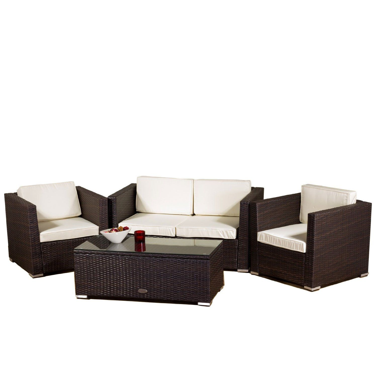 Oseasons New Rattan Oxford 4 Seater Conservatory Sofa Set In Brown Amazon Co Uk Garden Outdoors Conservatory Sofa Patio Furniture Pillows Sofa Set
