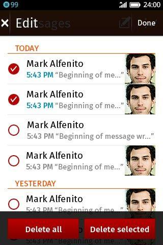 SMS bandeja de entrada edición de mensajes
