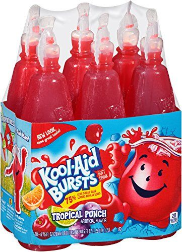 Kool Aid Bursts Tropical Punch Soft Drink 6 6 75 Fl Oz Bottles 40 5 Oz Kool Aid Soft Drinks Drinks Fridge