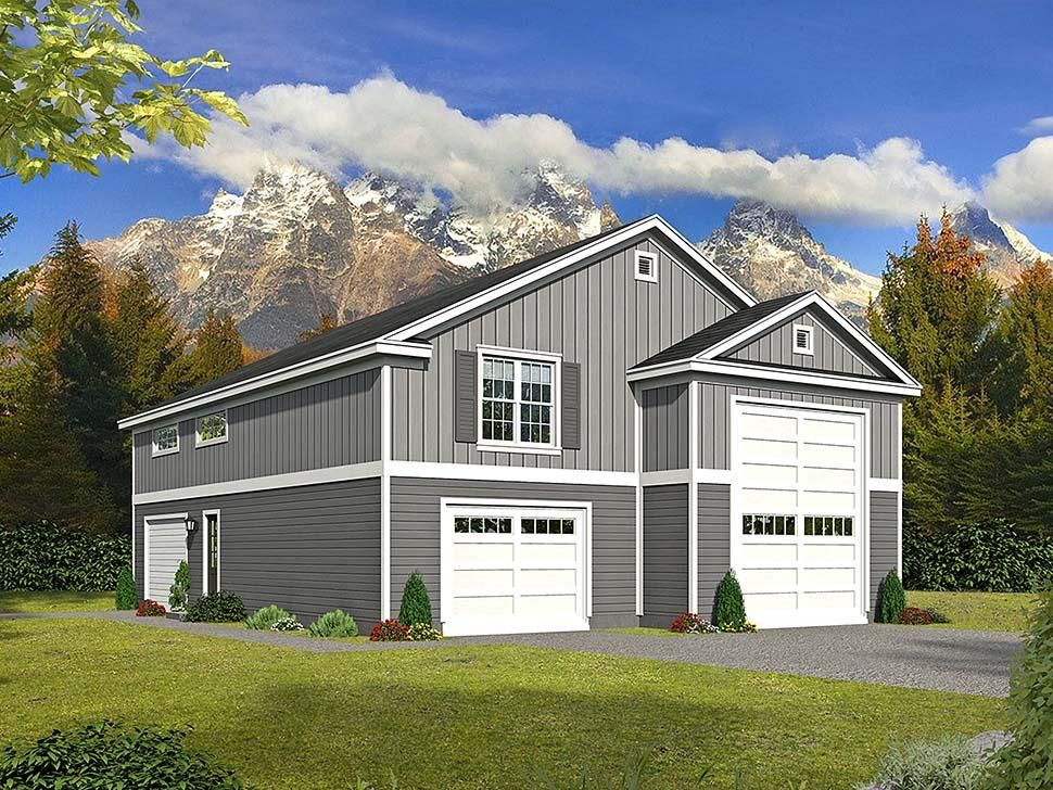 Traditional Style 3 Car Garage Apartment Plan Number with 1 Bed 2 Bath
