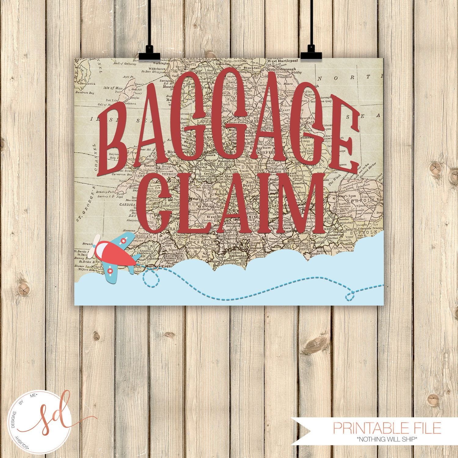 Vintage Travel Party Sign, Baggage Claim Sign, Around