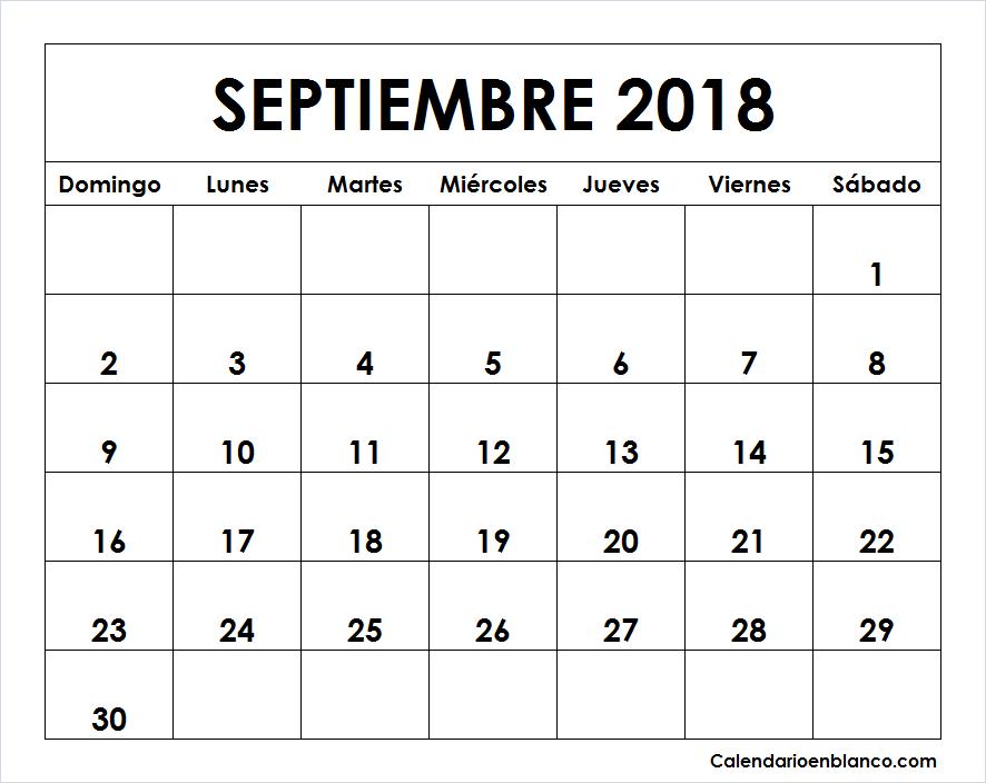 Calendario septiembre 2018 para imprimir calendario for Calendario de pared 2018