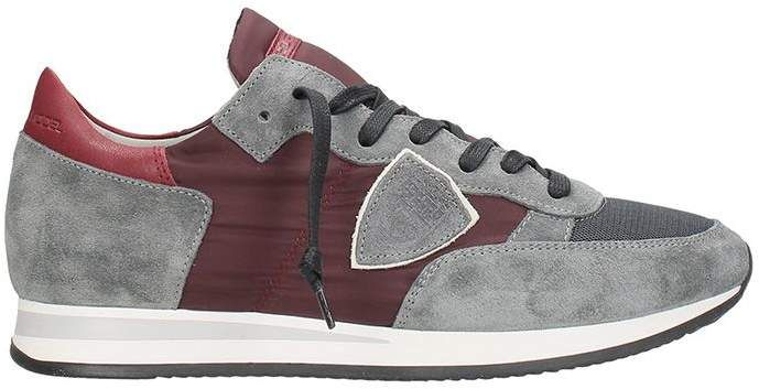 956073db1c Philippe Model Grey-bordeaux Suede And Fabric Tropez Sneakers ...