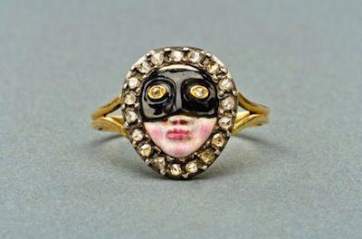 Diamond and Enamel Masquerade Ring, England or Italy, c 1900