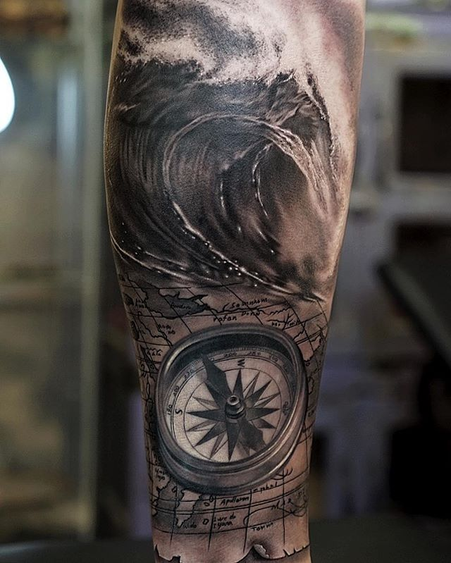 compass and wave tattoo tattoo taiwan pinterest compass tattoo and tatting. Black Bedroom Furniture Sets. Home Design Ideas