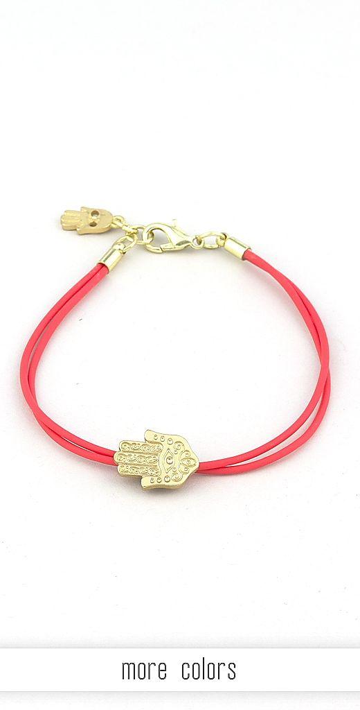 #Hamsa Bracelet A neon #bracelet featuring a hamsa #charm in great detail.  #accessories #jewelry www.beadsandrockz.com #beadsandrockz