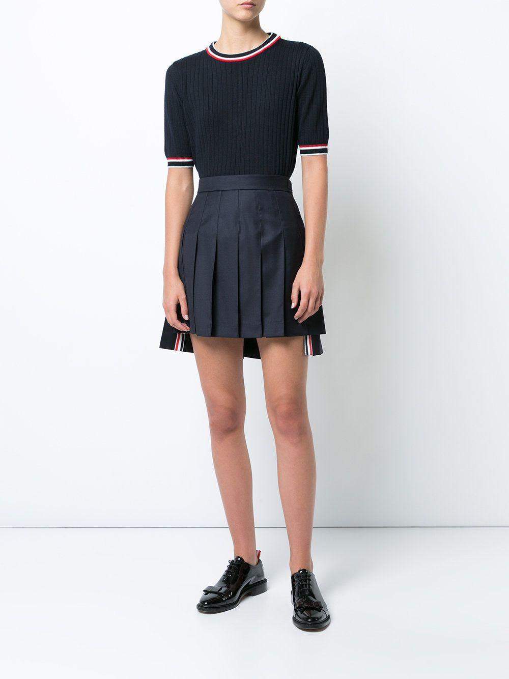 b50750820 Thom Browne Dropped-Back Mini Pleated Skirt in Navy Super 130's Wool Twill