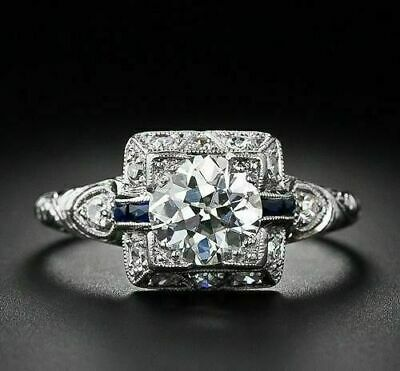 Photo of 1.25Ct Round Moissanite Art Deco Vintage Engagement Ring 14K White Gold Over