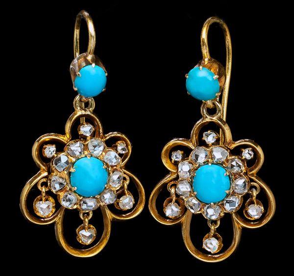 Starožitné Turquoise Rose briliant zlaté náušnice 1800s - Starožitné šperky | Klasické kroužky | Faberge vejce