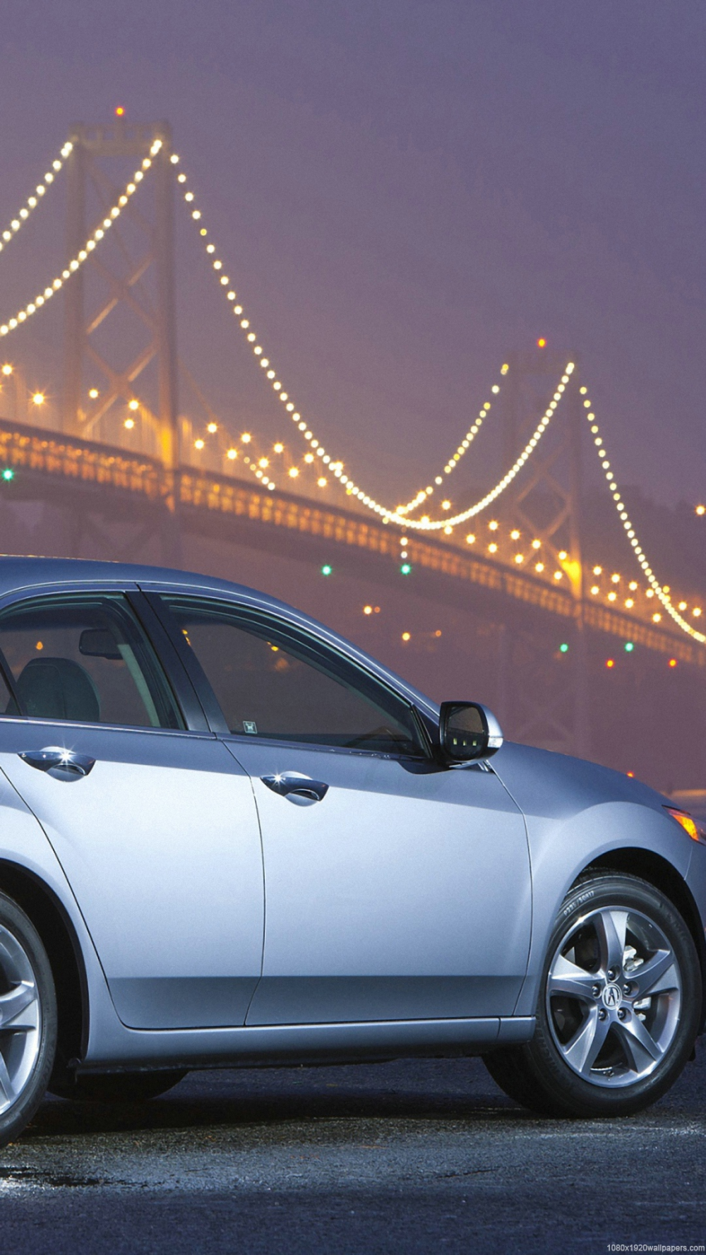 1080x1920 Blue Car Acura Metal Bridge View Fonds D Ecran Hd View Wallpaper Blue Car Acura Car