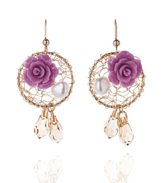 Purple Rose Flower Earrings Vintage Gold Crochet by NatalizJewelry