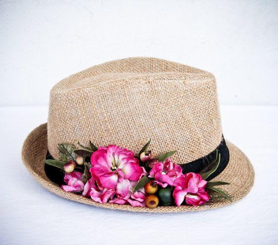 Floral  fedora hat summer