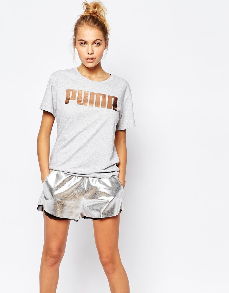 Puma Oversized Boyfriend T-Shirt With Rose Gold Logo
