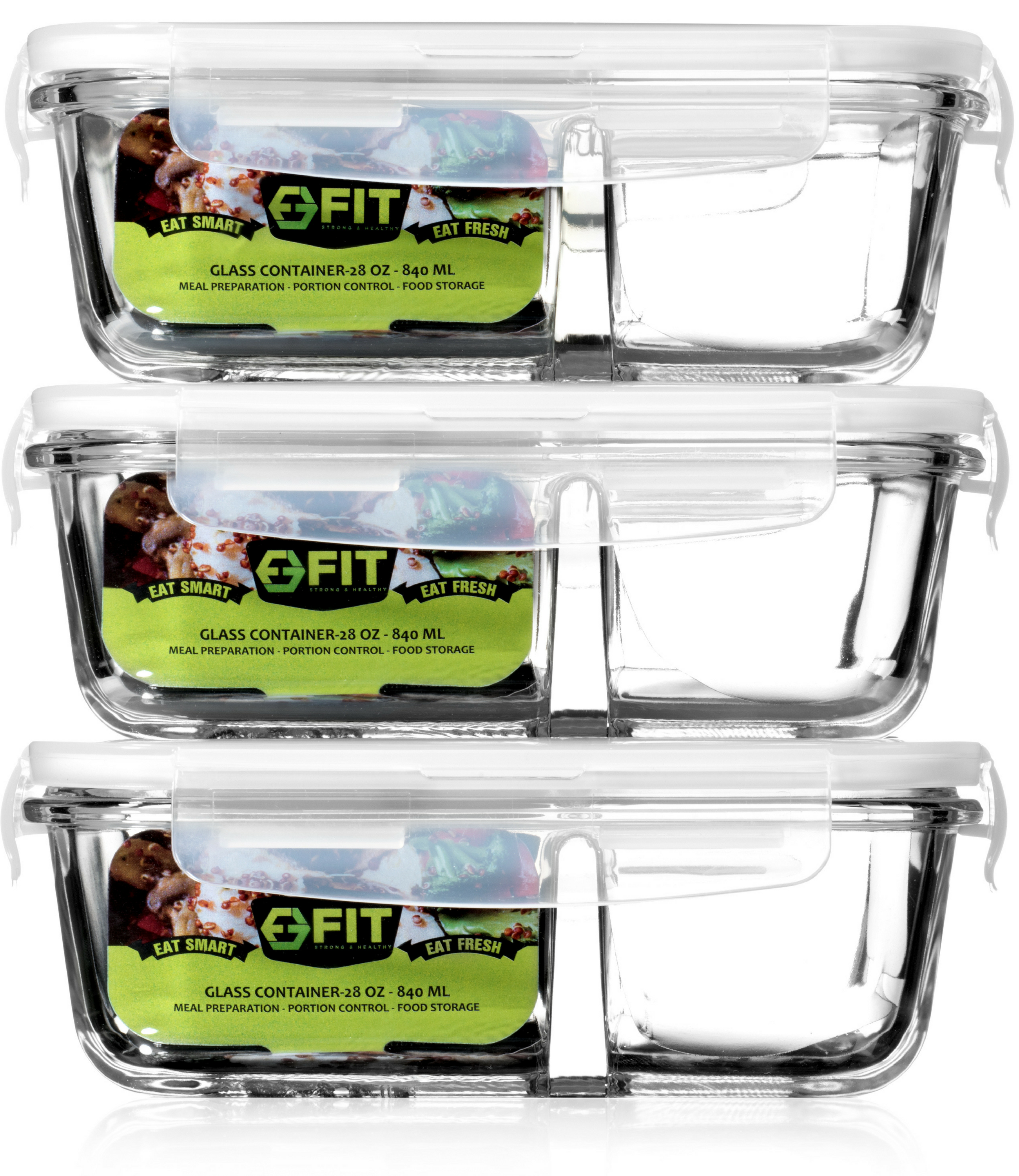 2 Compartment Glass Meal Prep Containers 3 Pack Food Storage