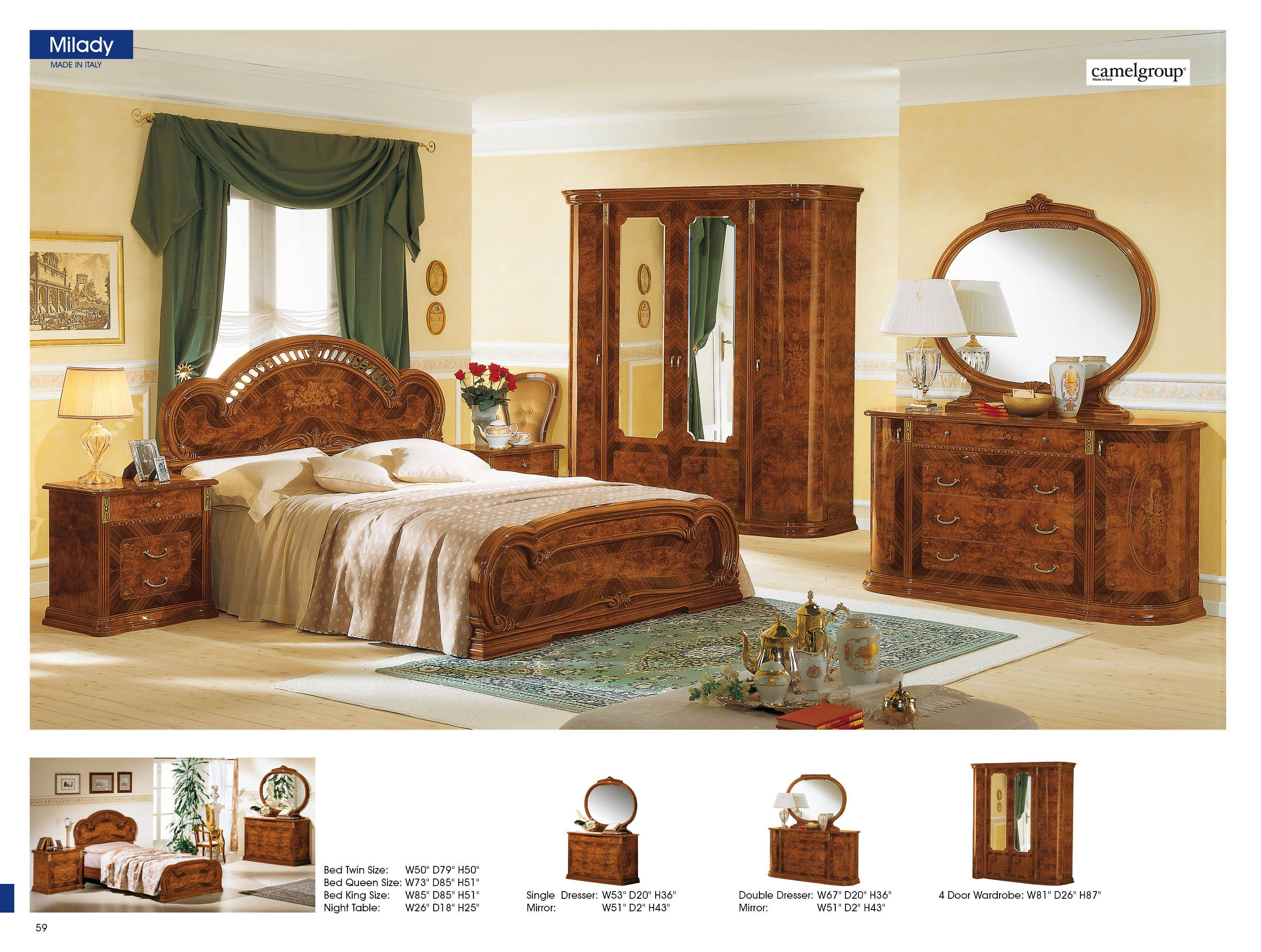 milady walnut camelgroup italy classic bedrooms bedroom furniture ...