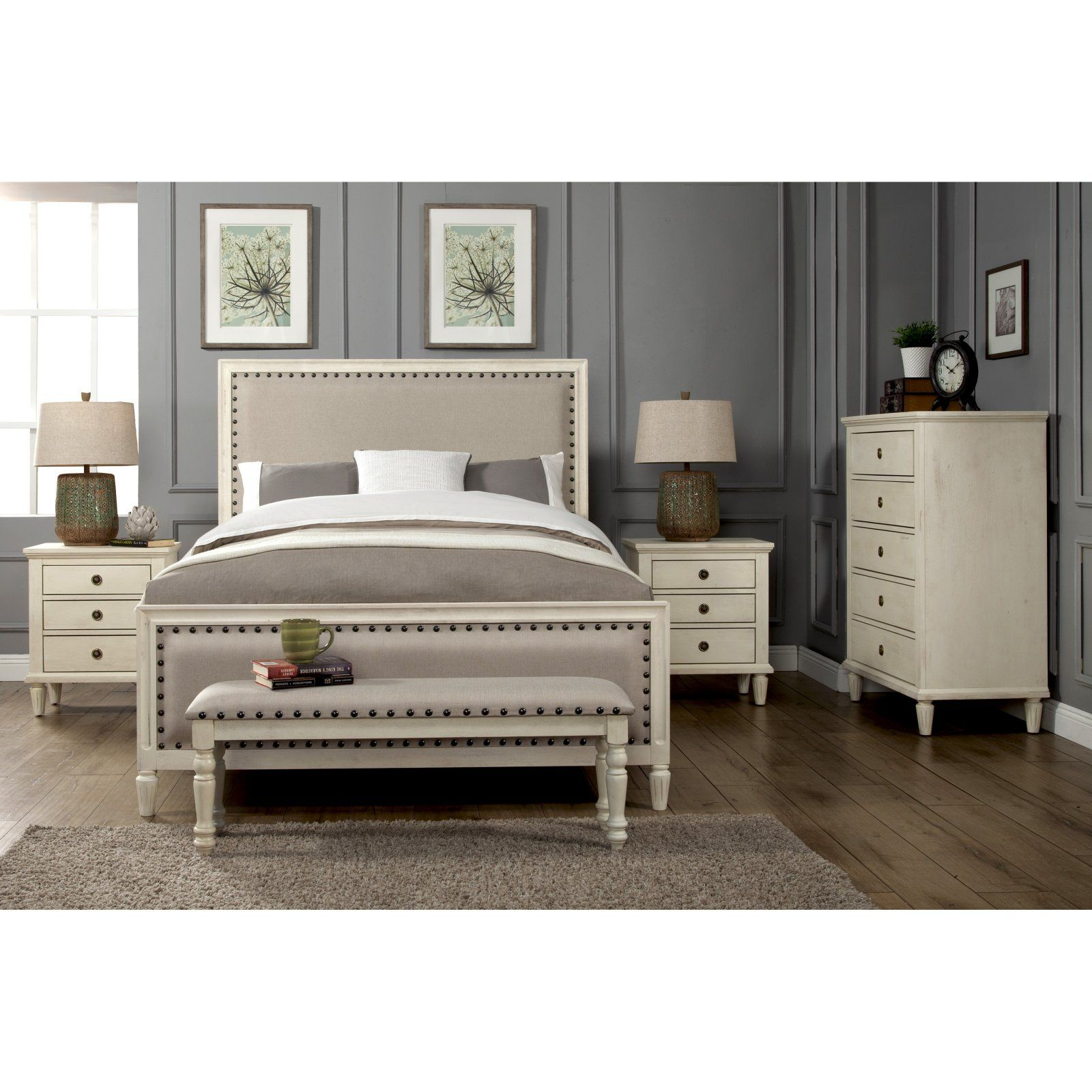 LuXeo Cambridge Upholstered Low Profile Bed White, Size ...