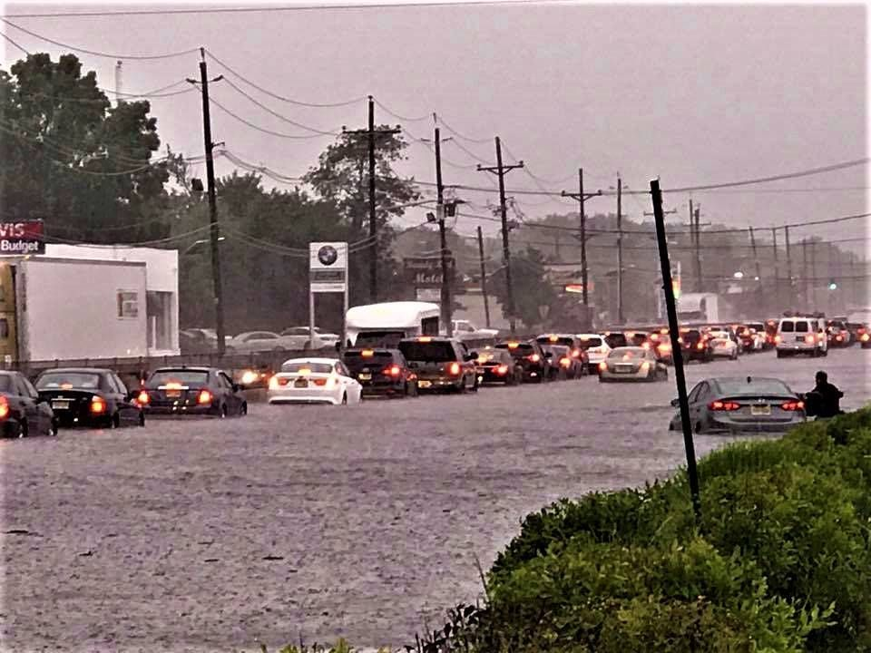 Edison heavy rain flash floods create route 1 commuting