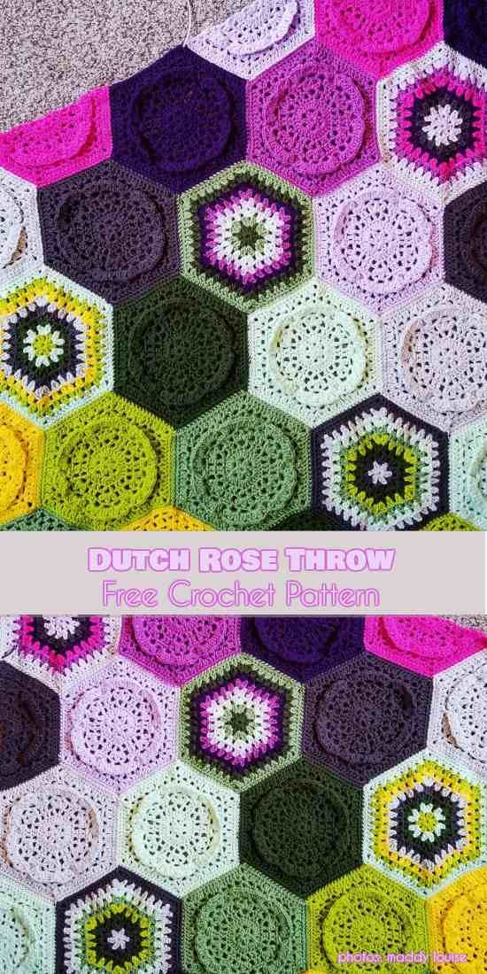 Dutch Rose Throw Free Pattern | Crochet Blankets/Afghans | Pinterest ...