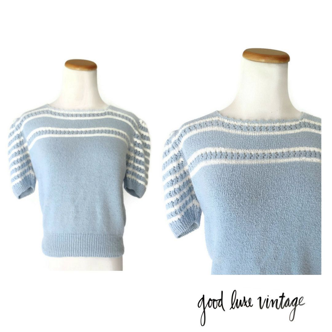 fc8ec2d3338c4 80s Blouse Sweater Pastel Blue Knit Top 1980s Stranger Things Nancy Wheeler Costume  Size Small Medium by GoodLuxeVintage on Etsy