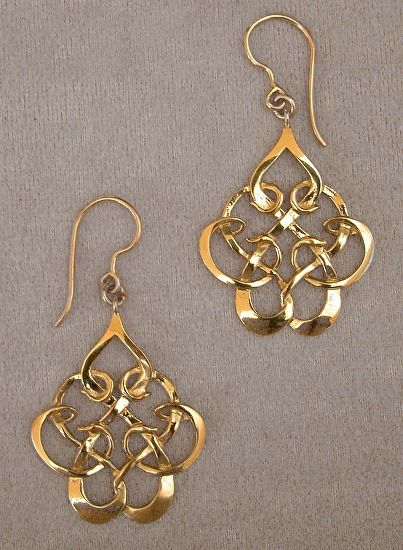 18K Gold, Celtic Knot Earrings by Athenae Inc ~ x