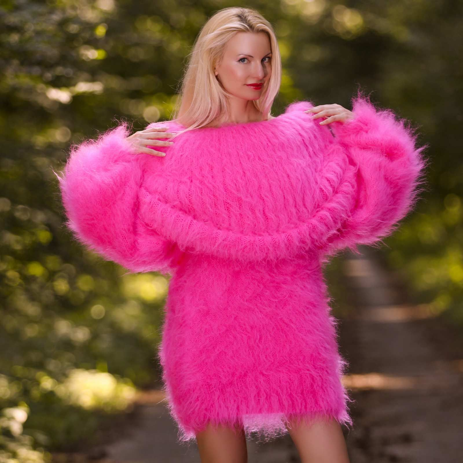100% hand knitted fuzzy mohair sweater dress in neon pink, size S ...