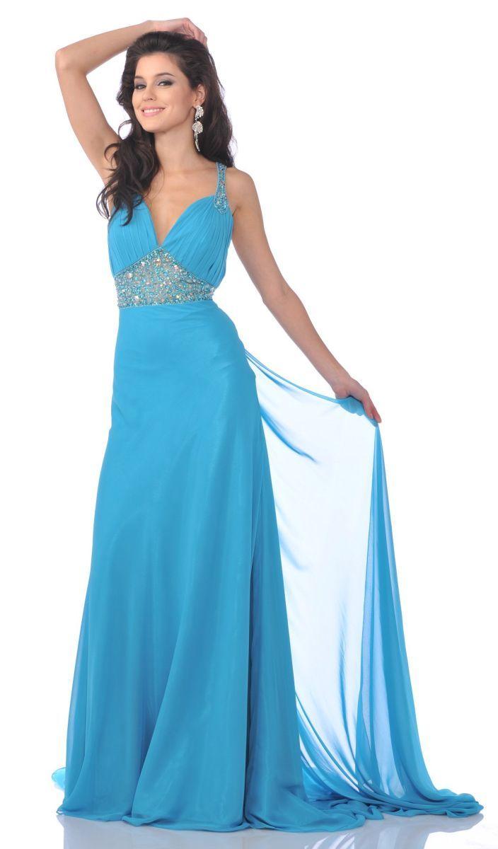 Sexy Blue Rhinestone Studded Open Back Chiffon Long Formal Dress ...