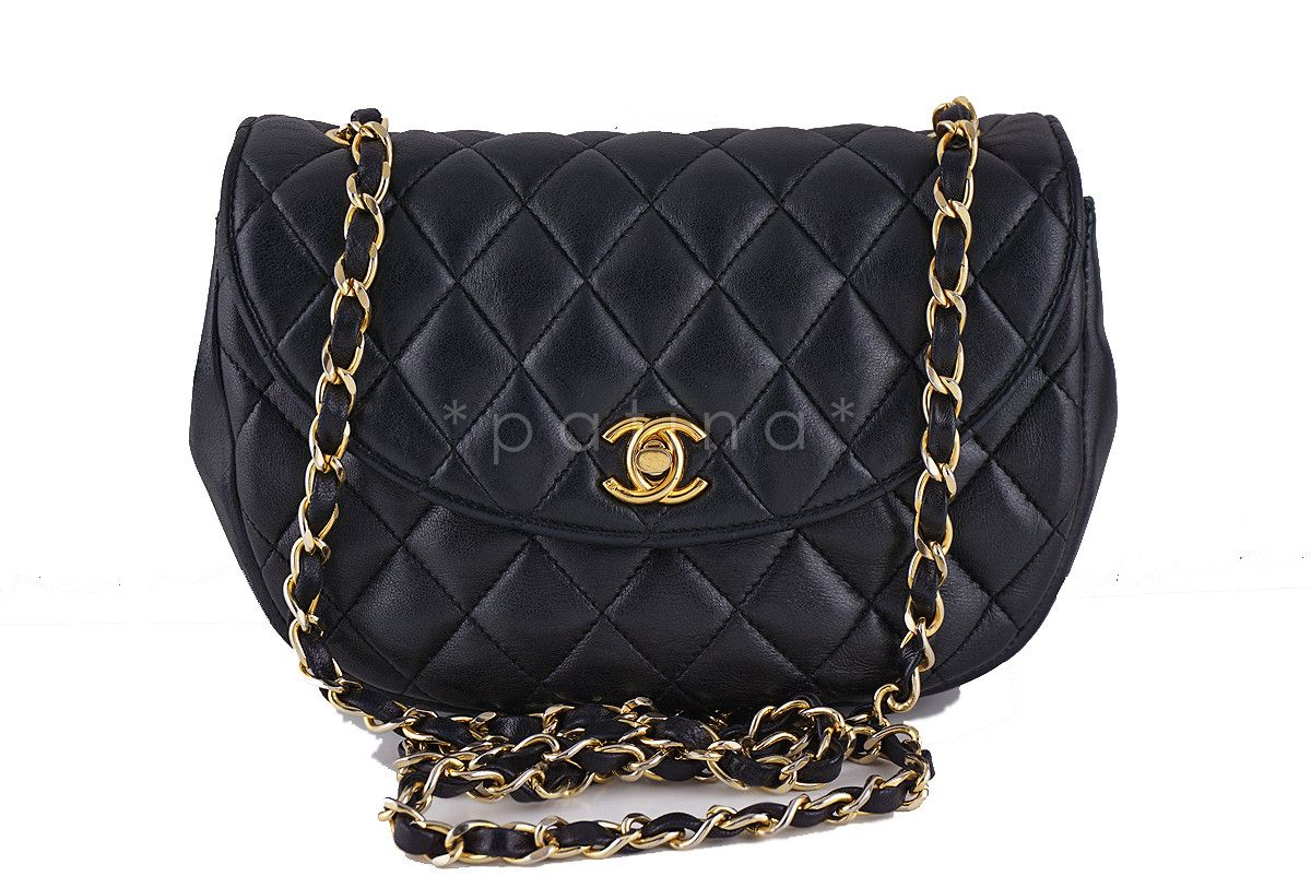 Chanel Vintage Black Rounded Classic Quilted Mini Flap Bag Vintage Chanel Flap Bag Vintage Black