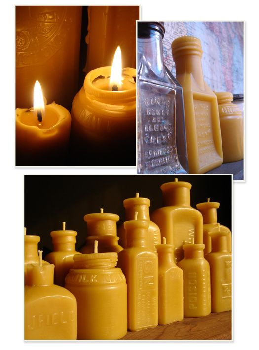 Pour wax into a neat glass bottle, DIY candles! bv melkfles , wijnfles