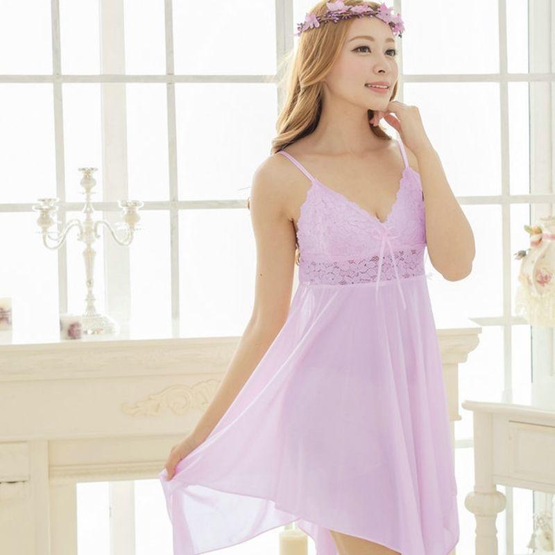 Light Purple Sexy Vintage Lace Bud Silk V-neck Spaghetti Strap Sleeveless Summer Free Size Girls Asymmetrical Skirt Pajamas