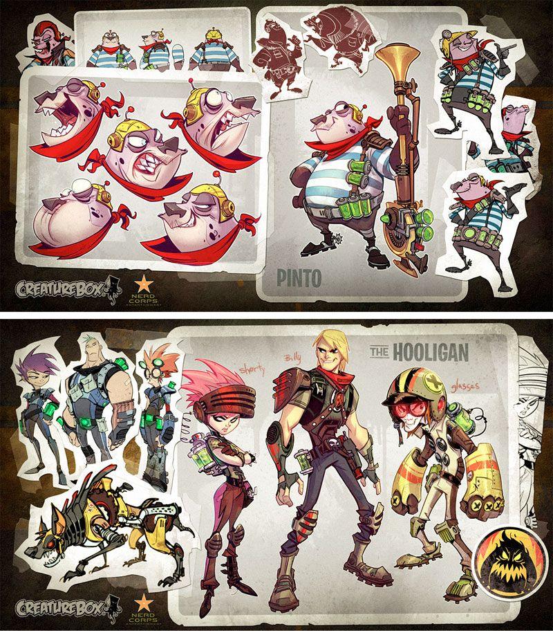 Personagens do seriado Slugterra, por Creaturebox