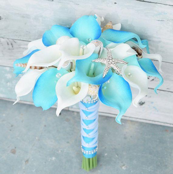 Silk flower wedding bouquet aruba turquoise calla lilies natural silk flower wedding bouquet aruba turquoise calla by wedideas mightylinksfo