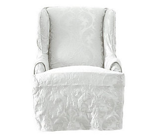 Remarkable Sure Fit Matelasse Damask Wing Chair Slipcover Shabby Chic Pdpeps Interior Chair Design Pdpepsorg
