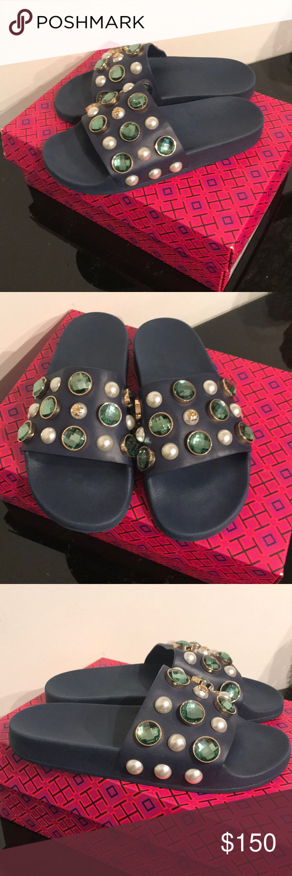 6666c03536e73 NEW TORY BURCH VAIL JEWELED FLAT SLIDE SANDALS  225.00 NEW TORY BURCH VAIL  JEWELED FLAT SLIDE SANDALS size 7 in blue color. With box no dust bag.