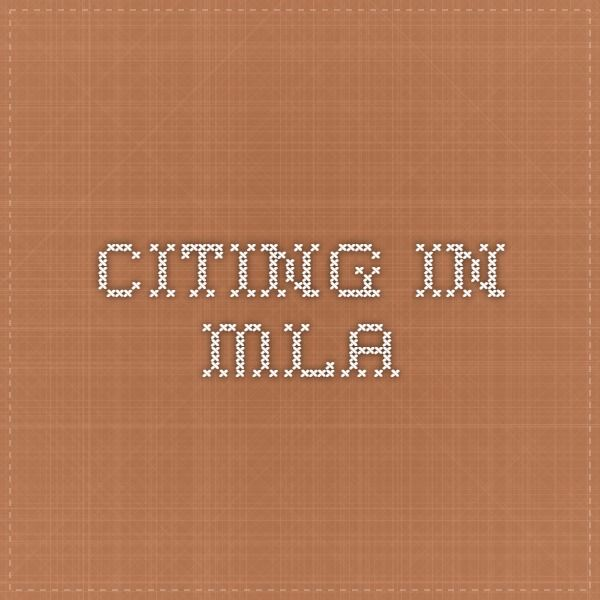 Citing in MLA