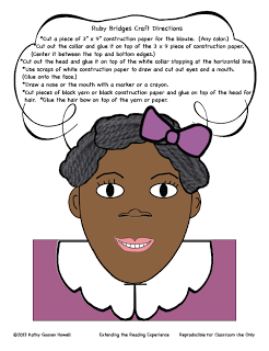 free ruby bridges craft writing to go along with her book for black history month. Black Bedroom Furniture Sets. Home Design Ideas