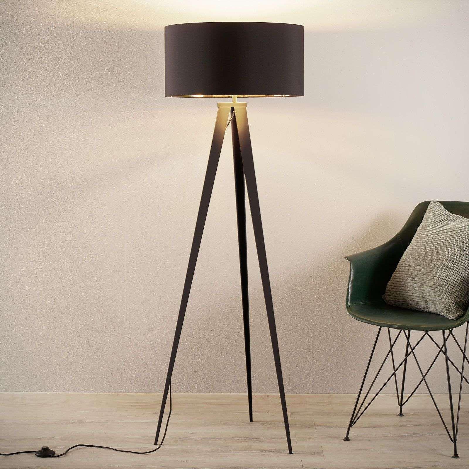 Stehlampe Benik Im Dreibeinlook Schwarz Gold Stehlampe