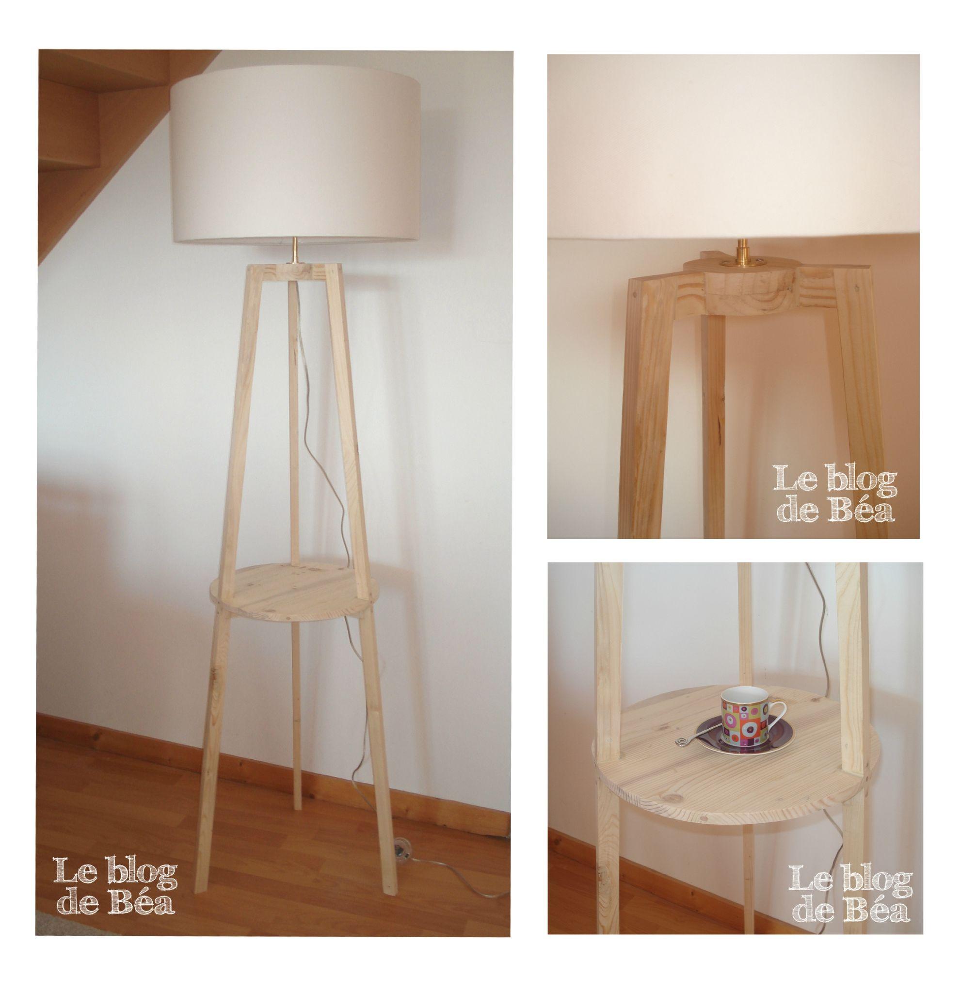 diy lampadaire tr pied avec tablette le blog de b a lampadaire trepied tr pied et lampadaires. Black Bedroom Furniture Sets. Home Design Ideas