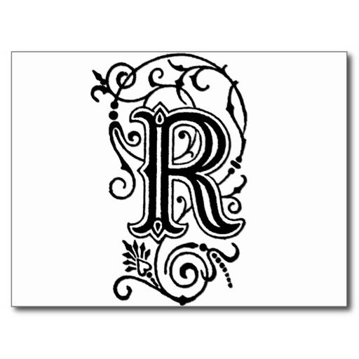 R Decorative Letter Postcard Decorative Postcards Pinterest