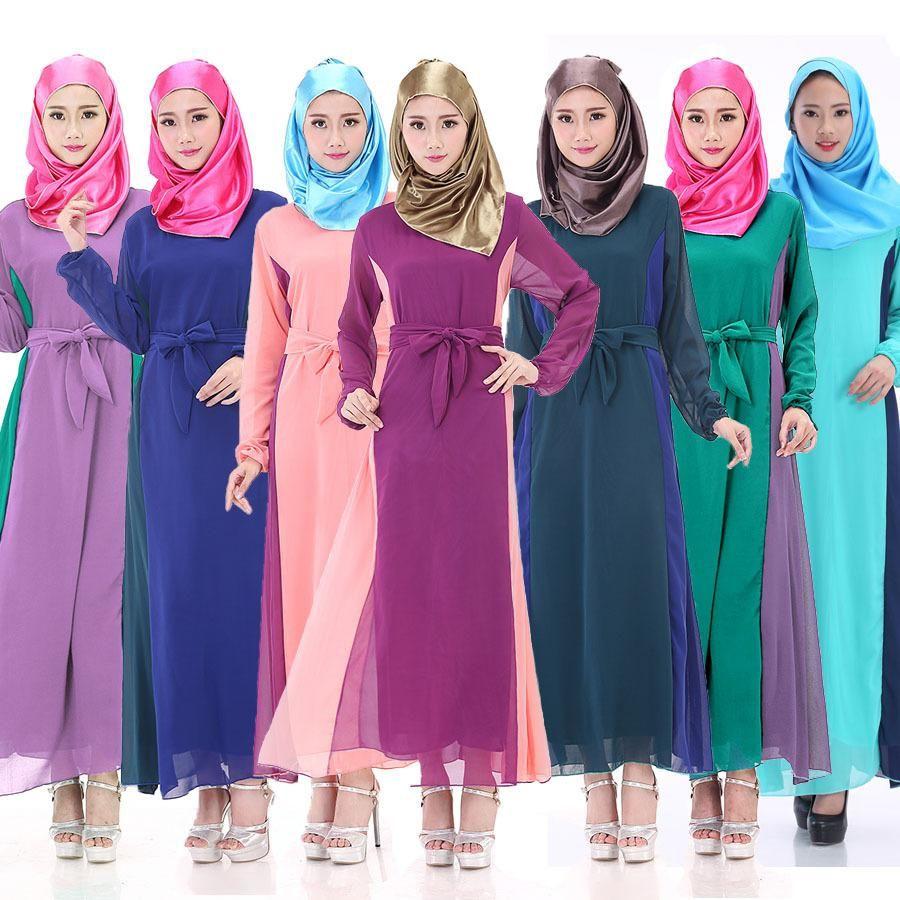 womens bandage dresses side patchwork muslim robe 2016 Saudi Arabia ...