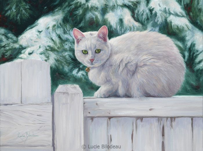"""Cat on a Fence"", oil on canvas, 12"" x 16"", by Lucie Bilodeau."