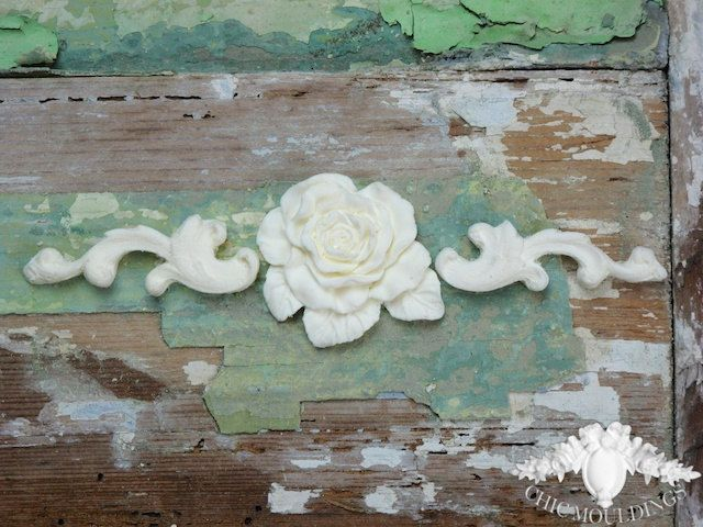 Shabby Chic Furniture Mouldings Appliques Small Scrolls With Flat English  Rose Embellishment Onlay Trim. £ - Shabby Chic Furniture Mouldings Appliques Small Scrolls With Flat