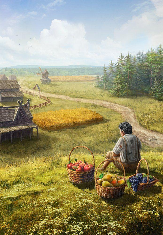 Medieval farm, Oleg Yolchiev on ArtStation at https://www.artstation.com/artwork/medieval-farm