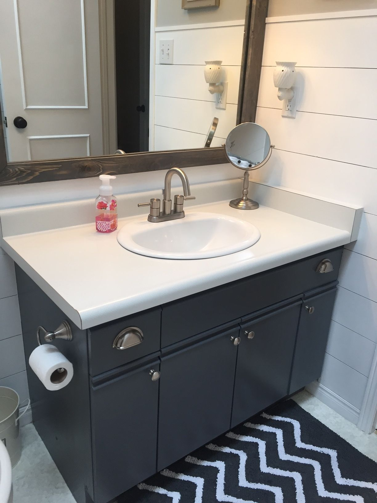 Bathroom Update How To Paint Laminate Cabinets The Penny