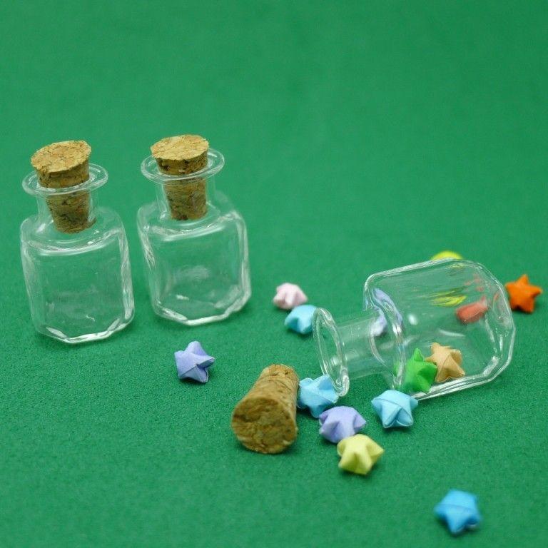 Cube Shaped Miniature Glass Bottle for Tiny Origami Lucky Stars. $2.20, via Etsy.