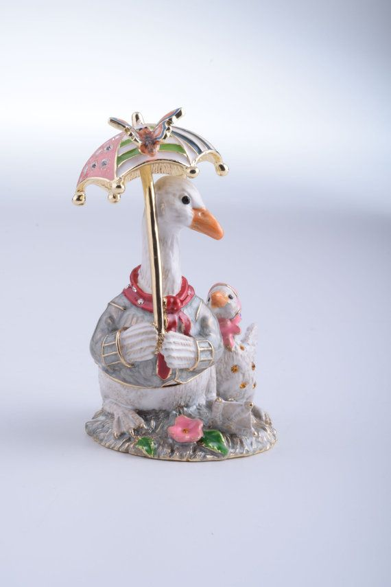 Goose with Umbrella Faberge Style Trinket Box by KerenKopal